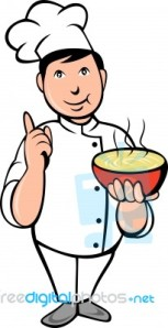 cartoon-chef-cook-with-bowl-of-soup-100216380
