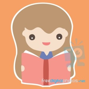 cute-girl-reading-book-cartoon-illustration-100199016