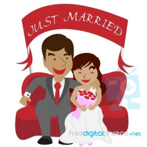 just-married-couple-background-100217934