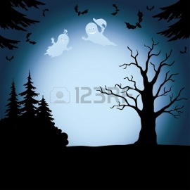 21463595-halloween-cartoon-landscape-with-silhouettes-of-trees-ghosts-and-bats-vector