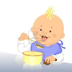 8886728-cute-baby-eats-with-a-spoon-from-a-bowl
